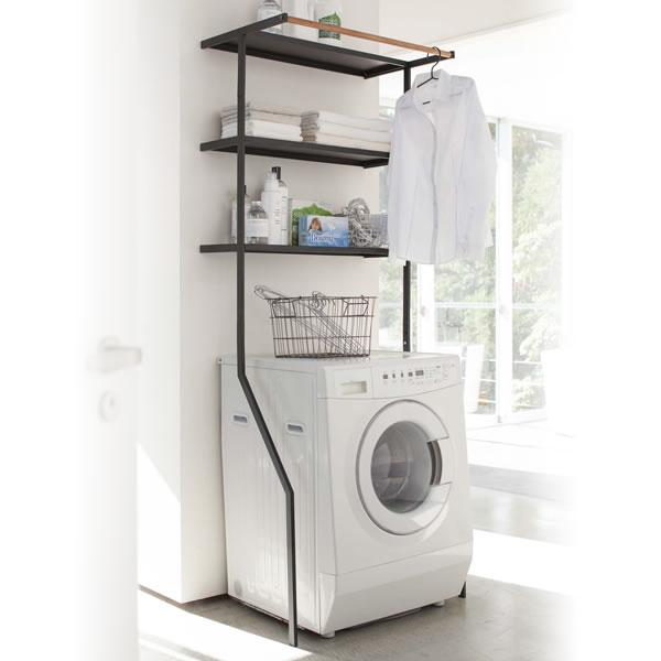 山崎実業 洗濯機 ラック 立て掛けランドリーシェルフ タワー ブラック