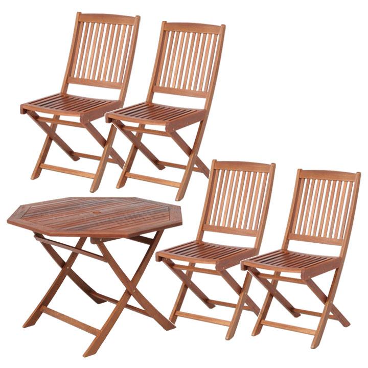 送料無料 【ガーデンテーブル ガーデンチェア】≪5点セット≫八角テーブル 110cm&フォールディングチェア #GC91JP×4脚【ガーデンファニチャー セット テーブル 椅子 木製】 【D】【FB】