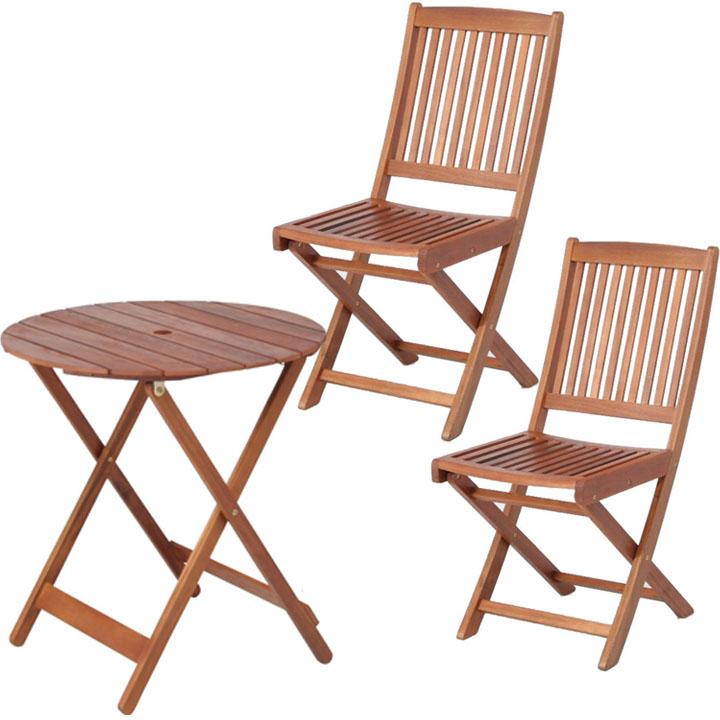 送料無料 【ガーデンテーブル ガーデンチェア】≪3点セット≫ラウンドテーブル #GT92JP&フォールディングチェア #GC91JP×2脚【ガーデンファニチャー セット テーブル 椅子 木製】 【D】【FB】