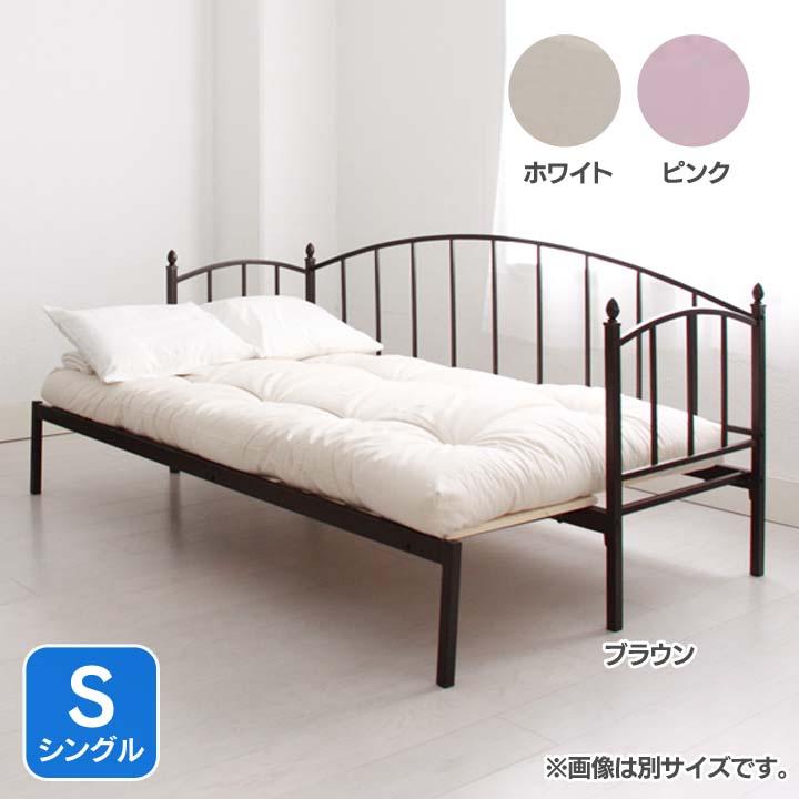 アイアン横伸長式ソファベッドS専用マット付き MRL2SPK-SFTN送料無料 ベッド シングル 寝室 ベッドルーム 寝具 ホワイト【TD】 【代引不可】【取り寄せ品】