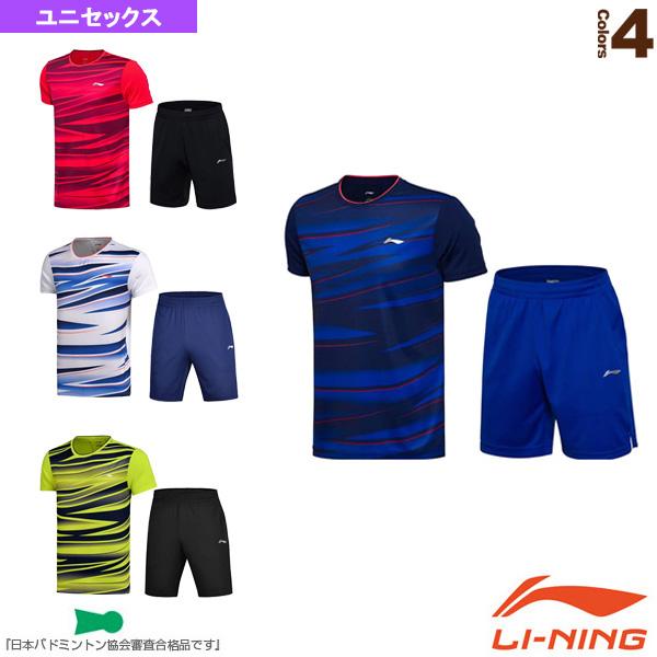 リーニン テニス バドミントン 卓越 ウェア メンズ ユニ 倉 セット ユニセックス AATM033 ゲームシャツ ハーフパンツ