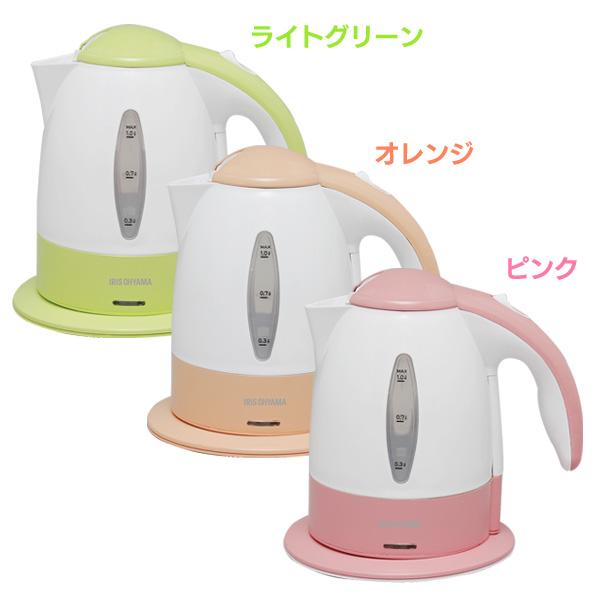 アイリスオーヤマ 電気ケトル IKE-1000 ピンク・オレンジ・ライトグリーン[cpir]:Rack World
