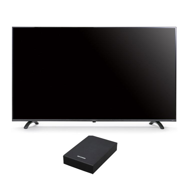 4Kテレビ 55型 音声操作 外付けHDDセット品送料無料 テレビ HDD セット TV 4K 音声操作 55型 外付け ハードディスク アイリスオーヤマ