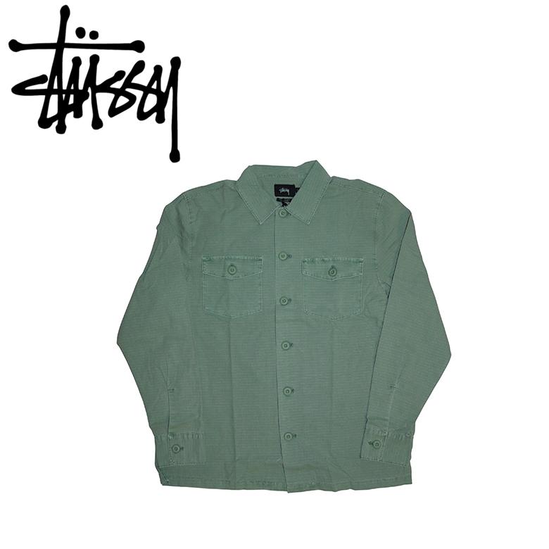 STUSSY ステューシー BDU L/SL Shirt 111909 長袖 ポケット ボタン シャツ OLIVE オリーブ ストリート スケーター カリフォルニア ロサンゼルス LA サーフ ブランド ストリート スタイル アメカジ ファッション