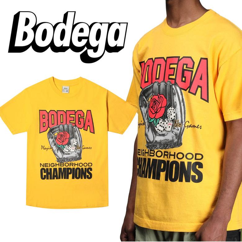 Bodega ボデガ CHAMPS TEE IN GOLD メンズ Tシャツ TEE BD119-101-0001 トップス ストリート Yellow イエロー ブランド