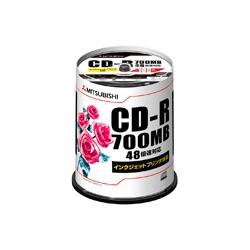 CD-R 700MB 4~48倍速対応 100枚スピンドルケース入印刷可能ホワイトレーベル 三菱ケミカルメディア SR80PP100