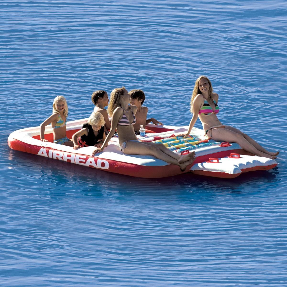 フローティング アクアラウンジ 水上 マット 6人乗り 水遊び 浮輪 水上基地