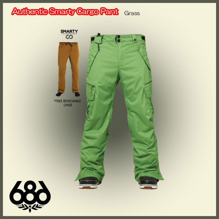 Raffys 14 15 686 Six Eight Wear Authentic Smarty Cargo Pant Grass Snowboard Pants