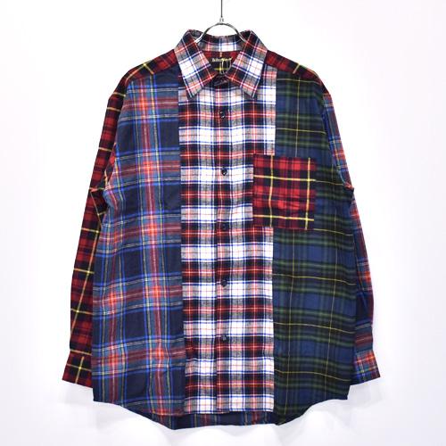 【SALE セール】Bohemians / ボヘミアンズ L/S Shirt(Mix Check) / Navy【返品・交換不可】