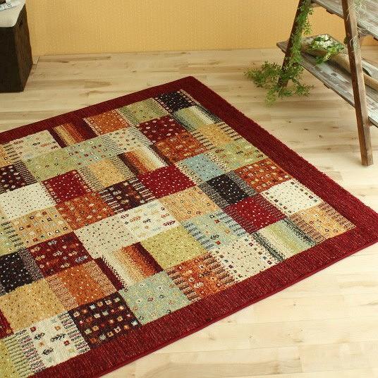 ベルギー絨毯 ギャッベ 柄 ラグ カーペット約 3畳 160×230 じゅうたん エスニック な雰囲気! 高弾力 ウィルトン織り カーペット ベルギー絨毯 レッド ギャベ ラグマット 送料無料 シンプル