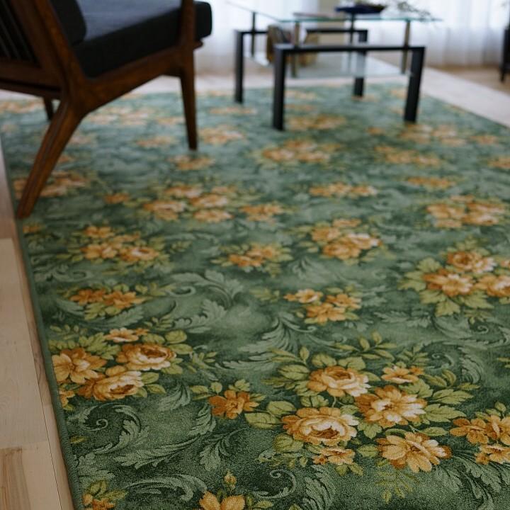 【お得な限定クーポンあり!】カーペット 防汚 撥水 おしゃれ 花柄 江戸間 6畳 用 261x352 ダイニングラグ 長方形 じゅうたん ソレイユ ラグマット 絨毯 送料無料 ベルギー絨毯