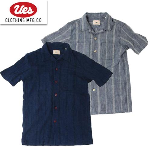 UES ウエス 552002 追燃開襟シャツ アメカジ 半袖シャツ インディゴ オープンカラーシャツ 2020年春夏新作