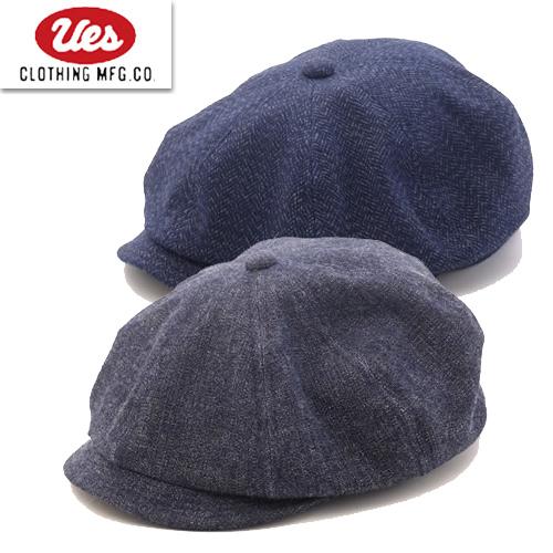 送料無料 通販 UES ウエスより新作クラシックを感じさせるコットン100%のキャスケットが登場 UESの小物は好評で今回の新作も要チェック クーポン発行 ウエス 822153 キャスケット CAP 帽子 2021新作 ハンチング ワークキャップ 男性 ラッピング対応可能 メンズ 商い 新入荷 流行 インディゴ ヘリンボーン プレゼント