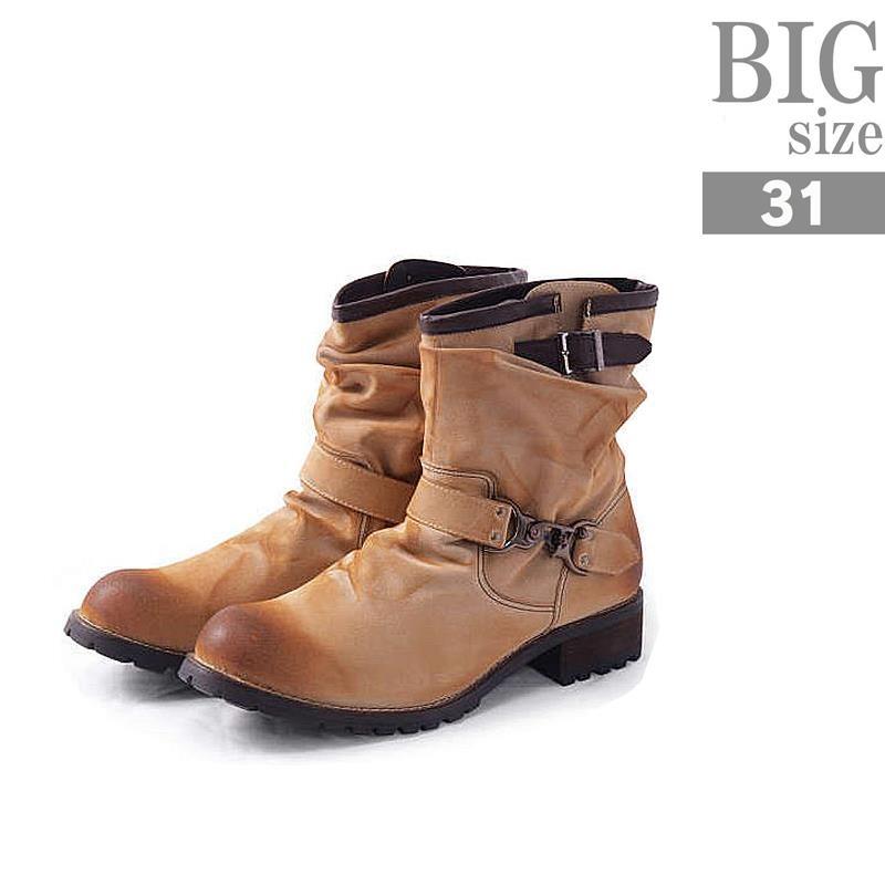 大きいサイズ エンジニアブーツ 靴 メンズ フェイクレザー 合成皮革 合皮 C300118-01