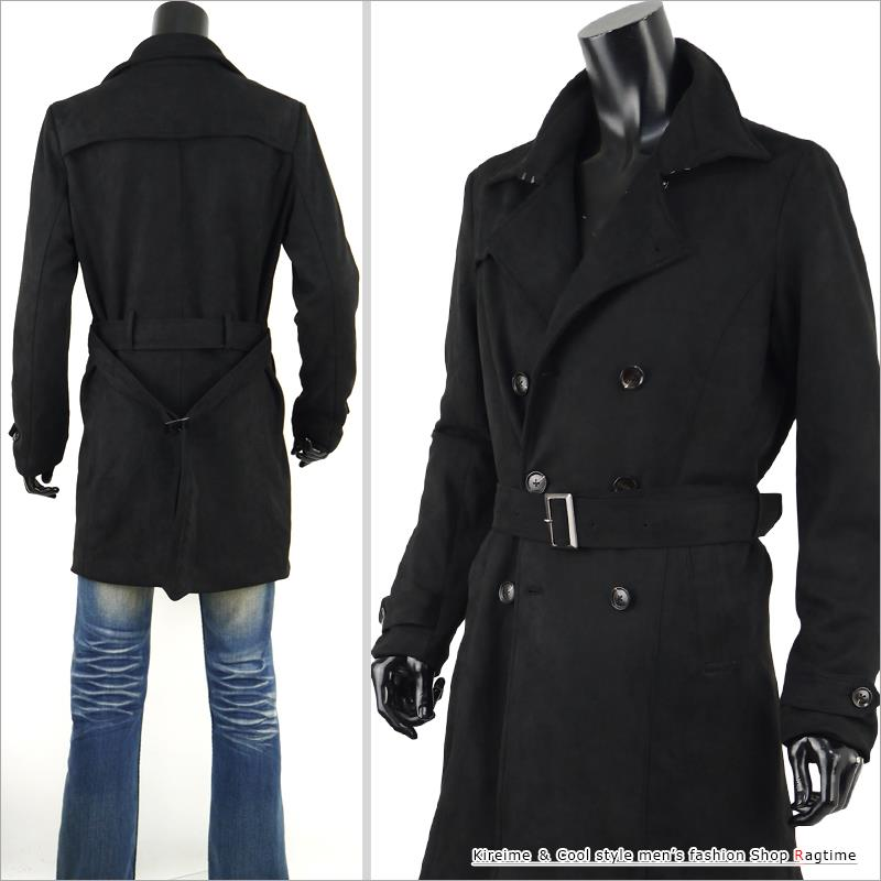 396682866535 ... Trench coat men suede cloth coat suede long coat long trench B301016-02  in the