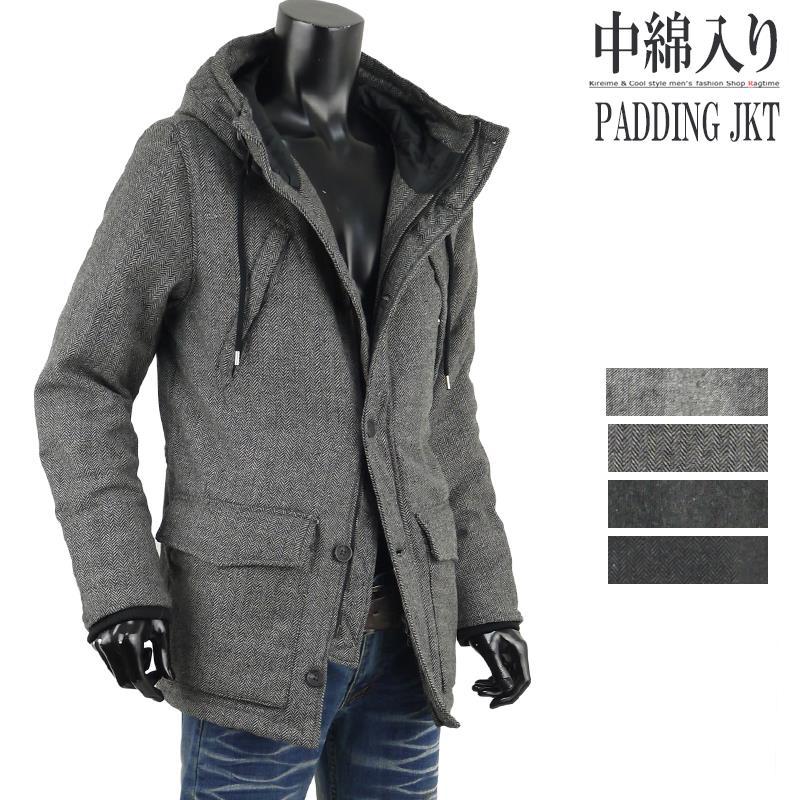 中綿ジャケット ツイード メンズ 冬 冬アウター ウール ロングジャケット フーデッドジャケット R30102904