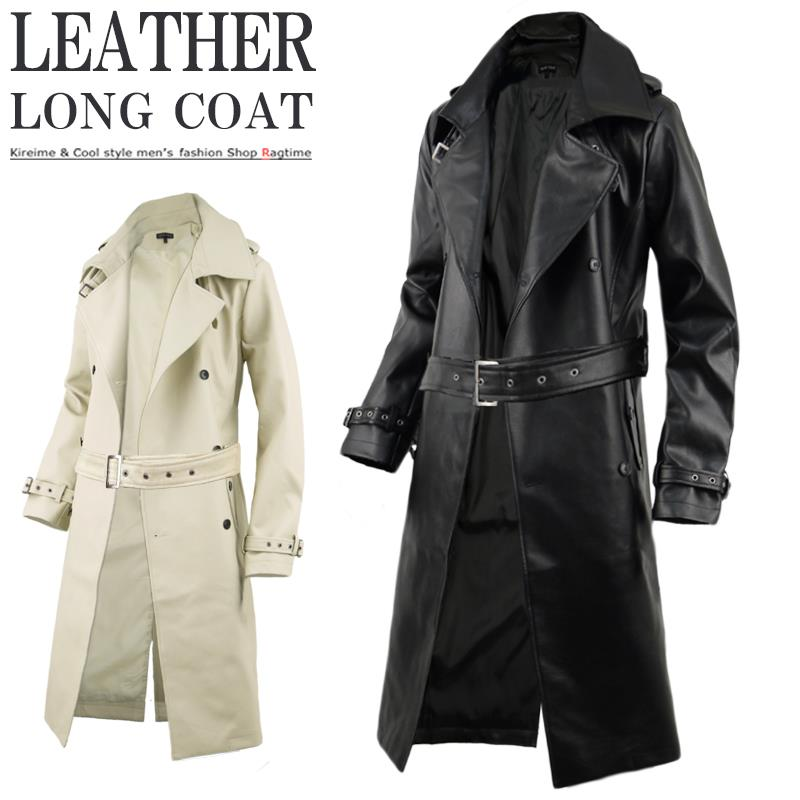 85ce3fbb0ab PU leather synthetic leather coat men s coat leather trench coat long trench  sg100114 ...