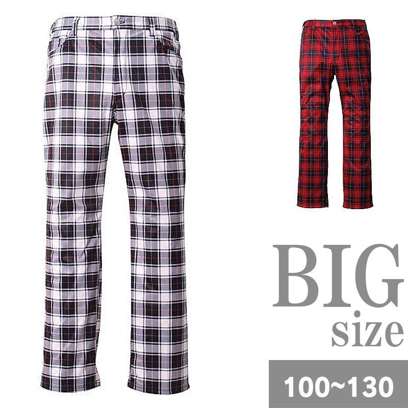 ビッグサイズ パンツ チェック柄 防寒 防風 フリース チェックパンツ 大きいサイズ メンズ 冬 C301003-16