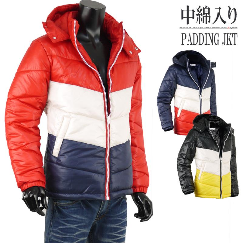 ダウンジャケット 暖か 中綿ジャケット メンズ 冬 ボリューム トリコロール 3カラー K301012-01