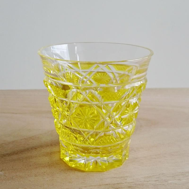 島津興業 創作 薩摩切子 冷酒グラス/黄【鹿児島】【薩摩切子】