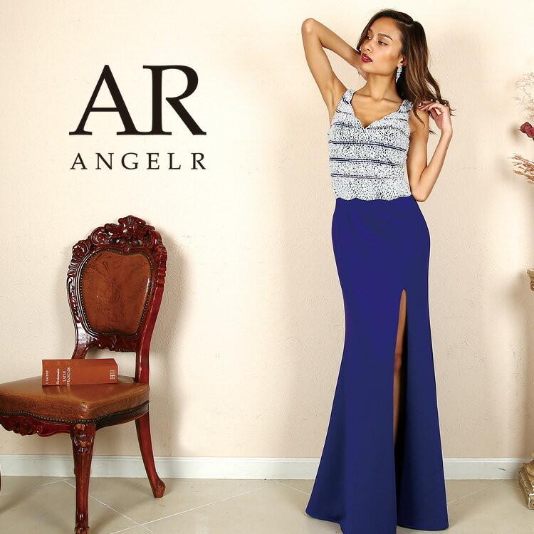 Angel R エンジェルアール ドレス キャバ ドレス キャバドレス エンジェル アール ドレス パールビジュータイトロングドレス ノースリーブ ストーン スリット ホワイト/レッド/ブルー S-M AR8343