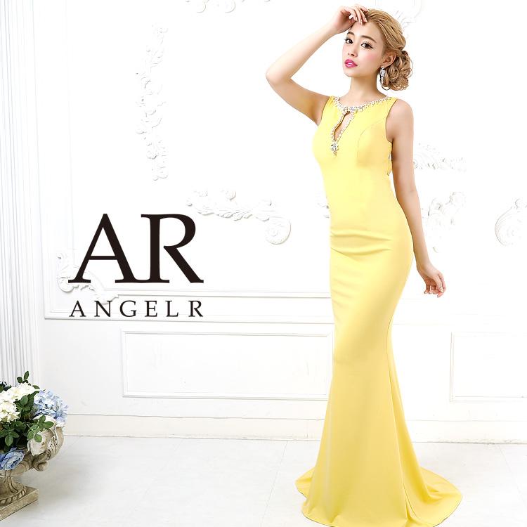 AngelR エンジェルアール バックデザインカットビジュータイトロングドレス ロングドレス キャバ ドレス キャバドレス ノースリーブ 無地 ビジュー ストーン 細い パーティー 女子会 AR9814
