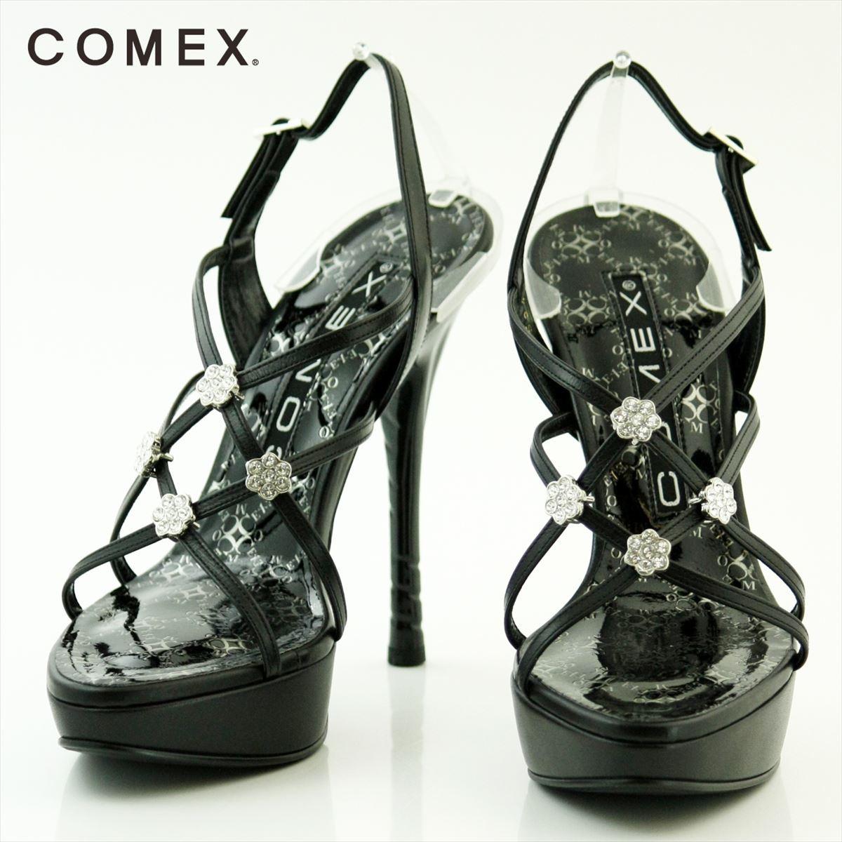 COMEX コメックス ピンヒール 13cmヒール フラワーモチーフ ラインストーン付き 厚底 バックベルト パーティー 靴 シューズ