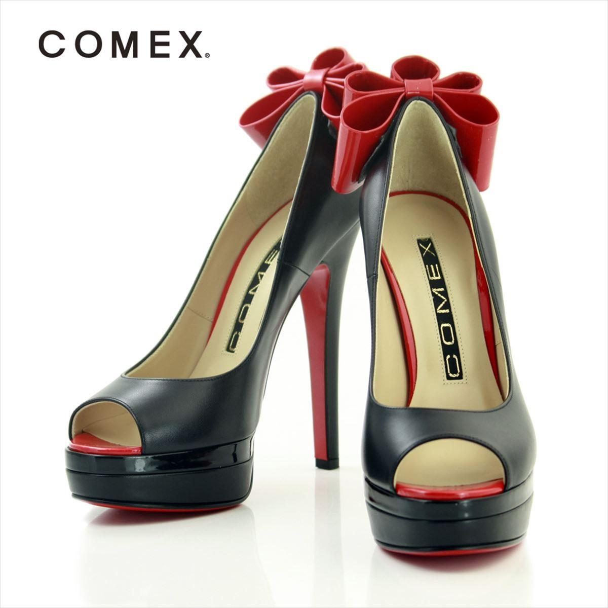 COMEX コメックス パンプス パーティ ハイヒール オープントゥ ピンヒール リボン