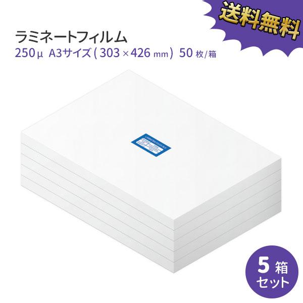 超特厚業務用ラミネートフィルムSG 250ミクロン A3サイズ 250枚(50枚/箱×5箱)【あす楽対応】