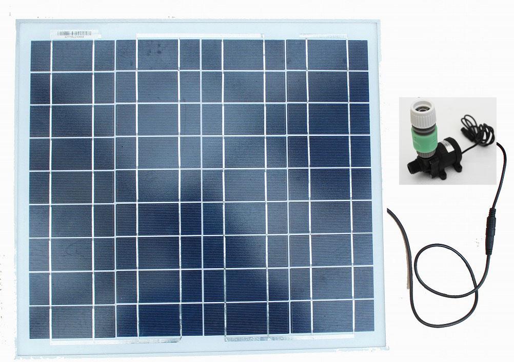 小型ソーラーポンプセット 30W 入手しやすい内径12ミリから15ミリのホースに簡単に接続・ホーセンド・ネジ口金付