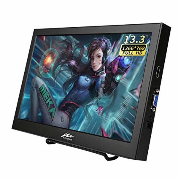 13.3インチ モバイルモニター Kenowa 軽量 ポータブルディスプレイ1366 768 フルHD 非光沢 VGAポート 60Hz 安心の定価販売 HDMI TFT 5ms応答 全視野 当店一番人気