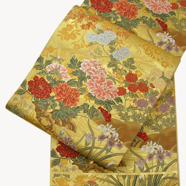 正絹西陣袋帯 本金四季の花