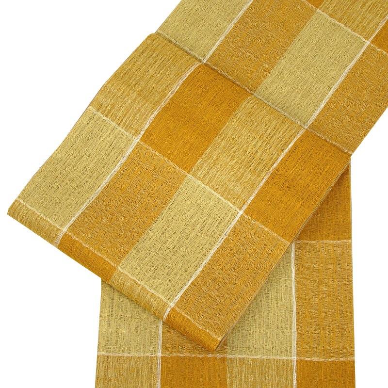 正絹 手織袋帯 工芸すくい織・格子 ベージュ