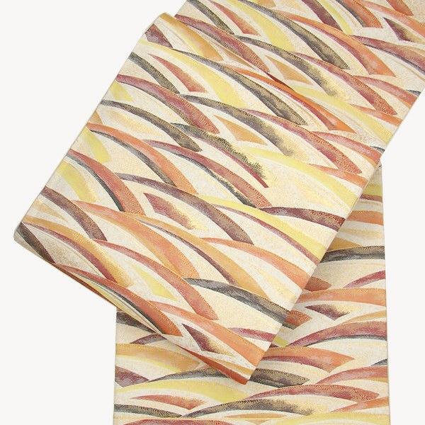 正絹 西陣袋帯 なみの輝き クリーム