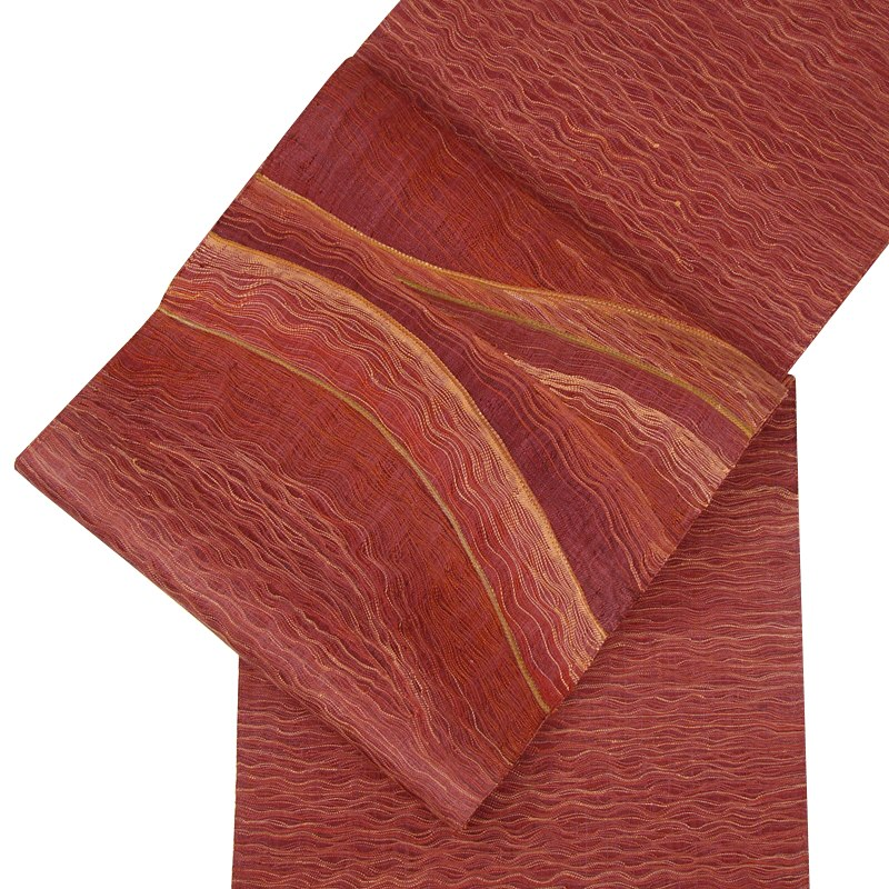 正絹手織袋帯 工芸すくい織・波