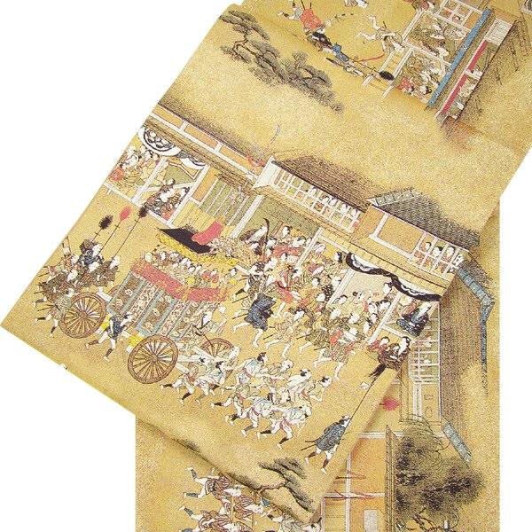 正絹西陣袋帯(全通) 祇園・祭禮図織絵巻
