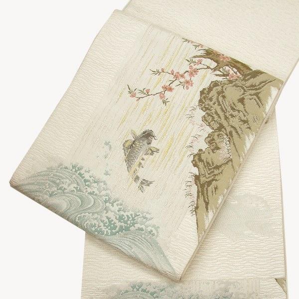 正絹西陣袋帯 鯉登龍門之図