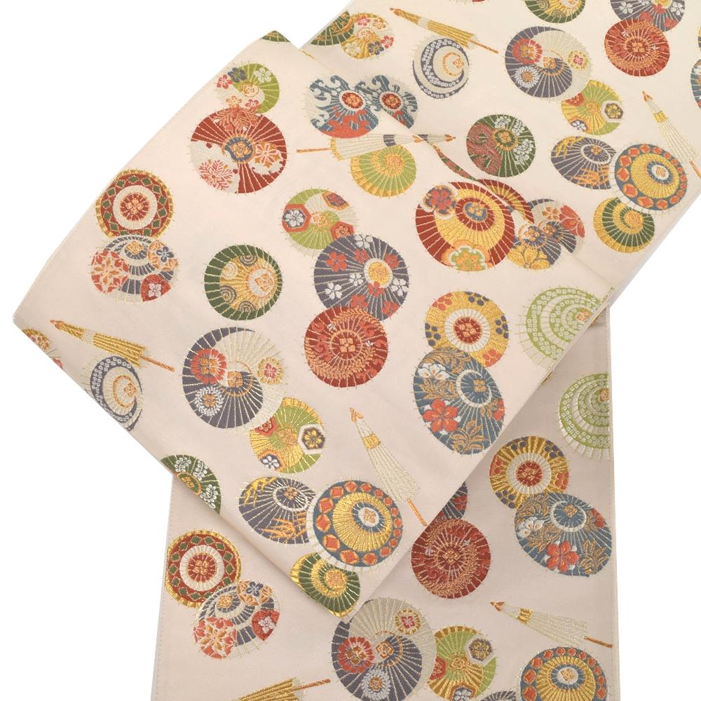 正絹西陣袋帯 おしゃれ傘文 白