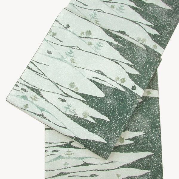 正絹牛首紬袋帯 氷割連山染め帯・全通