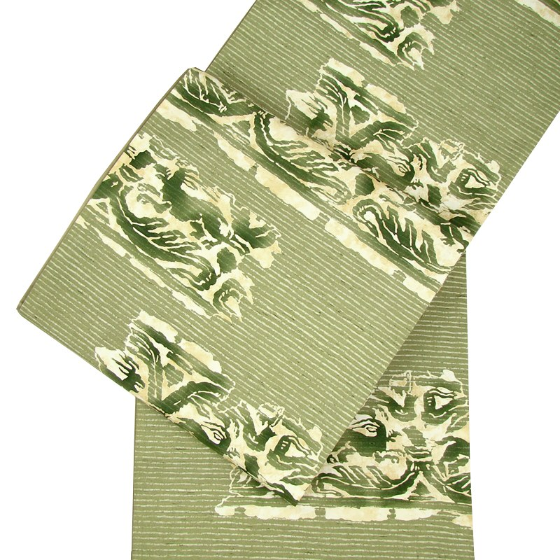 正絹牛首紬袋帯 更紗染め帯・全通