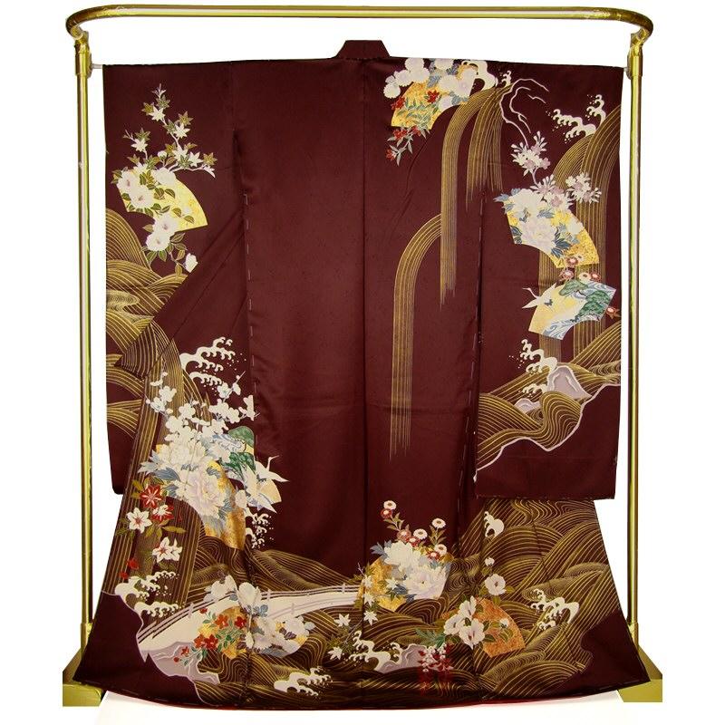 正絹京友禅振袖 流水四季花文 結婚式 卒業式 フォーマル 和装 着物