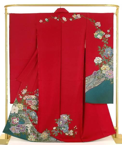 正絹手描振袖 流水に花文 結婚式 卒業式 フォーマル 和装 着物