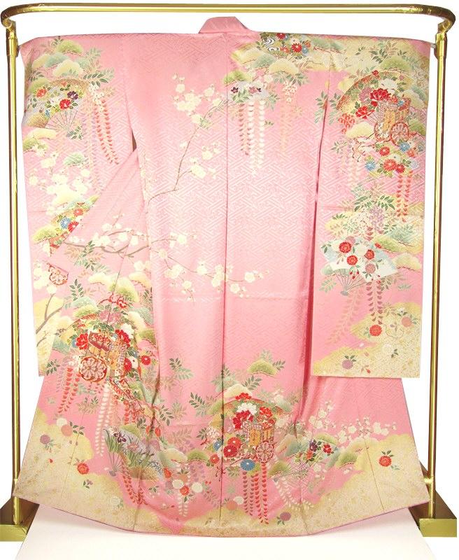 正絹友禅振袖 御所車四季花文 結婚式 卒業式 フォーマル 和装 着物
