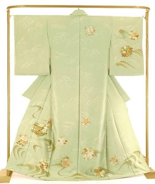 正絹訪問着 波に花丸文 結婚式 卒業式 フォーマル 和装 着物