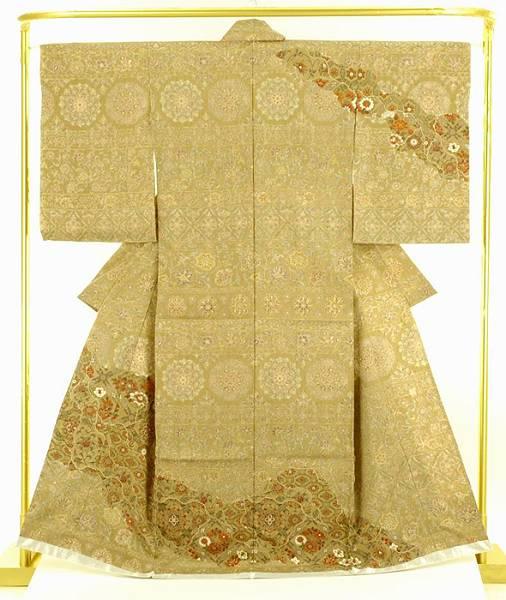 正絹更紗訪問着 天井格子文 結婚式 卒業式 フォーマル 和装 着物