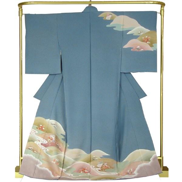正絹手描き訪問着 遠山の雅 結婚式 卒業式 フォーマル 和装 着物