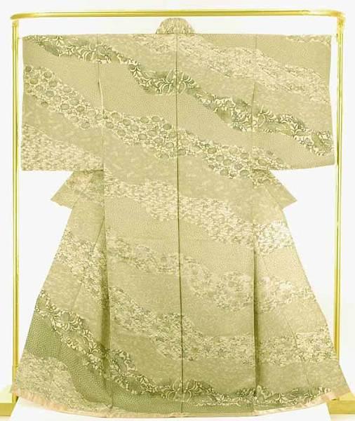 正絹訪問着 印花布自然染 結婚式 卒業式 フォーマル 和装 着物