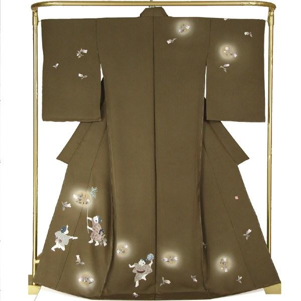 正絹手描き友禅訪問着 蛍袋と童・堀 栄 作 結婚式 卒業式 フォーマル 和装 着物