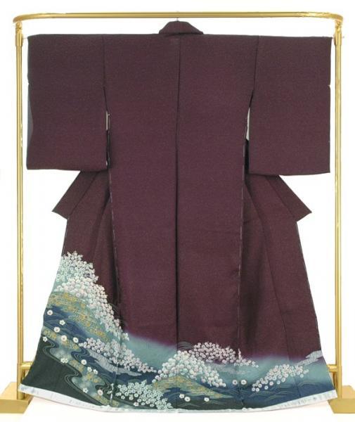 絞り訪問着 流水に四季花文 結婚式 卒業式 フォーマル 和装 着物