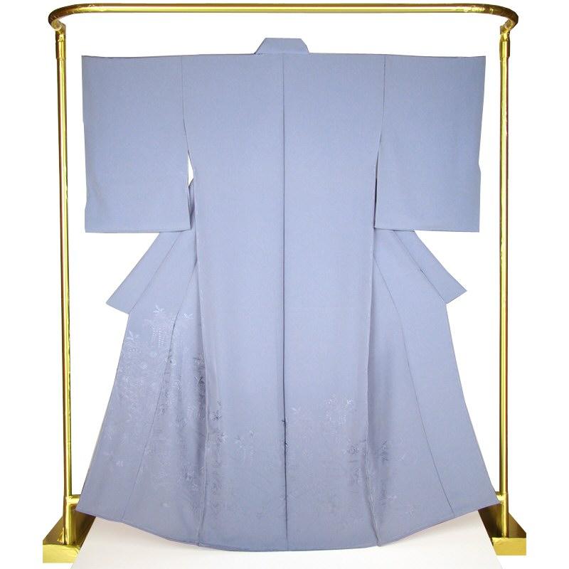 色絵羽訪問着 百花几張文・灰藤色 結婚式 卒業式 フォーマル 和装 着物